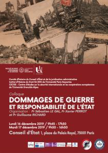 16 et 17 décembre 2019_Dommages de guerre et responsabilité de l'État_Affiche