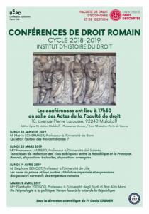 Conférences de droit romain 2019_Affiche